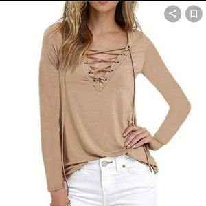 Free People Lace Up V neck T shirt xs